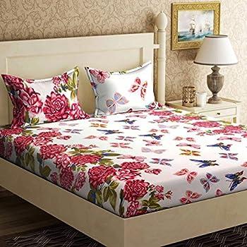 Home Elite 120 TC Cotton Double Bedsheet with 2 Pillow Covers - Floral, Multicolour