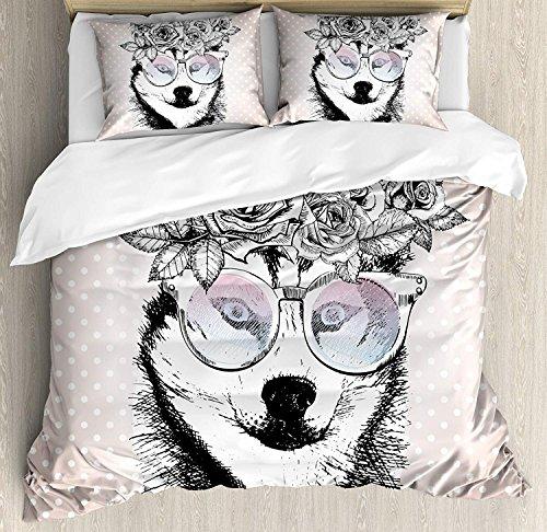 Alaskan Malamute 3 PCS Bettbezug Set, Vintage Polka Dots und Hund mit Blumenkranz und Sonnenbrille, Bettwäsche-Set Tagesdecke für Kinder/Jugendliche/Erwachsene/Kinder, Rose Gold Schwarz Weiß