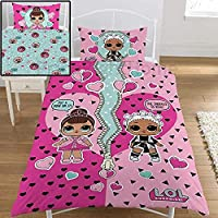 J&T Girls Character Single Bedding Sets, Duvet Covers & Pillowcases, (My Little Pony, Little Mix, LOL Surprise), Kids, Reversible + CHOICE OF FREE FITTED SHEET COLOUR (Purple, LOL Opposites)