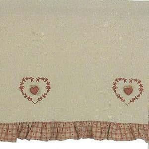Brise bise rideau beige cœurs volant vichy rouge