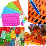 sunnymi 50 Gitter Bär Formen, Hohlraum Silikon Gummibärchen Schokoladenform Candy Maker Ice Tray Jelly (Pink, 19*13.7*1cm)
