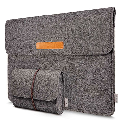 Inateck Filz Sleeve Hülle Ultrabook Laptop Tasche Kompatibel mit 15 Zoll MacBook Pro 2016/2017/2018 (Model A1707/A1990), Dunkelgrau 15 Macbook Pro