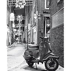 1art1 82383 Vespas - Eine Straße In Amsterdam Im Winter Poster Leinwandbild Auf Keilrahmen 50 x 40 cm