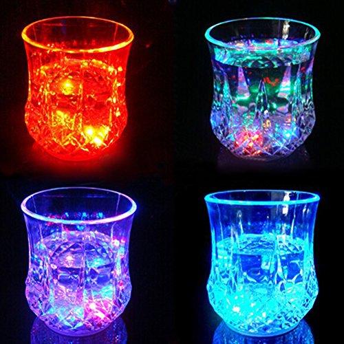 LED Wein Whisky Cup Induktive Flash Light Glas Bar Party Getränk Cup Nachtlicht 8.5cm x 7.3cm Wie abgebildet (Wein Blinkende Glas)