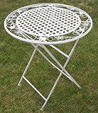 Maribelle - Runder Klapptisch - Gartenmöbel mit floralem Design - Metall - Weiß mit Antik-Finish