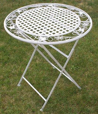 Maribelle - Table à manger en métal - ronde/pliante - pour extérieur/jardin/terrasse - motif