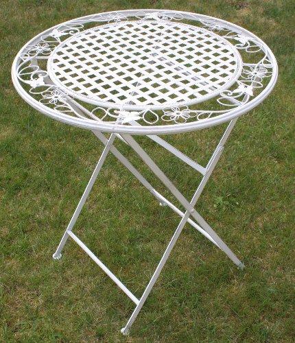 Maribelle - Table à manger en métal - ronde/pliante - pour extérieur/jardin/terrasse - motif floral/blanc