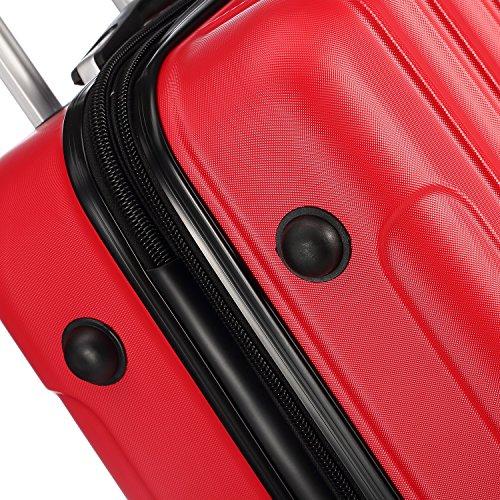 Zwillingsrollen 2050 Hartschale Trolley Koffer Reisekoffer in M-L-XL-Set in 12 Farben (M, Rot) - 6