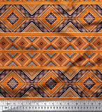 Soimoi Orange Viskose Chiffon Stoff geometrisch