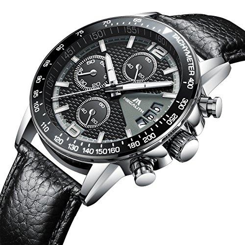 Herren Uhren Männer Sport Wasserdicht Chronograph Datum Kalender Luxus Armbanduhr Geschäfts Beiläufig Mode Kleid Multifunktion Stoppuhr Analog Quarz Uhr mit Schwarz Echtes Lederband
