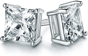 Chryssa Youree 18k White Gold Plated CZ Cubic Zirconia Square Princess Cut 8mm Studs Earrings - Mens Womens Children Fashion Jewelry