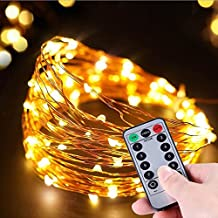 Led Fairy String Lights 8 modos de luz de Flash 50 luces led con pilas Impermeable de cobre con iluminación LED para el banquete de acción de gracias de Navidad decoración de Halloween (2Pack)
