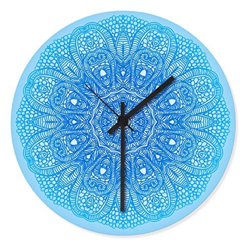 Wandkings Wanduhr mit farbenfrohen Motiven - Wähle ein Motiv - Henna Muster Blau