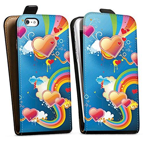 Apple iPhone X Silikon Hülle Case Schutzhülle Herz Love Regenbogen Bunt Downflip Tasche schwarz