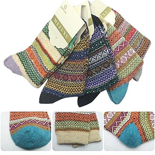 Damen Winter Socken Warme Baumwolle Dicke Bunte Farben Wollsocken Einheitsgröße Atmungsaktiv Warm Weich 5er Pack (Wolle Socken Weiße)