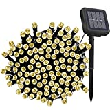 Solar Fairy String Lights Outdoor Waterproof, 33FT 100LEDs Updated Version 6hrs Timer Function Solar Powered String Lights for Christmas Garden Patio Party-(Warm White)