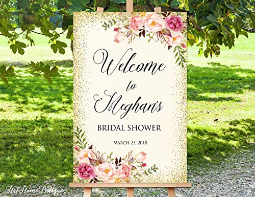 Tamengi Welcome Bridal Shower Sign, Bridal Shower Welcome Sign, Large Welcome Sign, Ivory Welcome Sign, Large Poster, Printable Welcome Sign