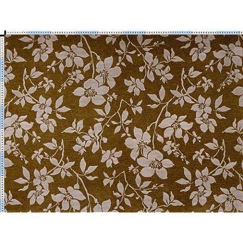 Tessuto da tappezzeria, rivestimento in tessuto, tessuto da tappezzeria, tessuto, tessuto della tenda, il velluto vellutato tessuto - Potpourri II, Bluna, pfegeleichter Curry-giallo - con incantevoli decorazioni di fiori - Foglie Di Curry