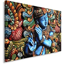 Feeby Frames, Cuadro en lienzo, Cuadro impresión, Cuadro decoración, Canvas de una pieza, 60x80 cm, ESTATUA BUDA, ZEN, INDIA, ORIENTE, MULTICOLOR