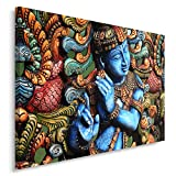 Feeby, Leinwandbild, Bilder, Wand Bild, Wandbilder, Kunstdruck 80x120cm, STATUE, BUDDHA, ZEN, INDIEN, ORIENTAL, MULTICOLOR