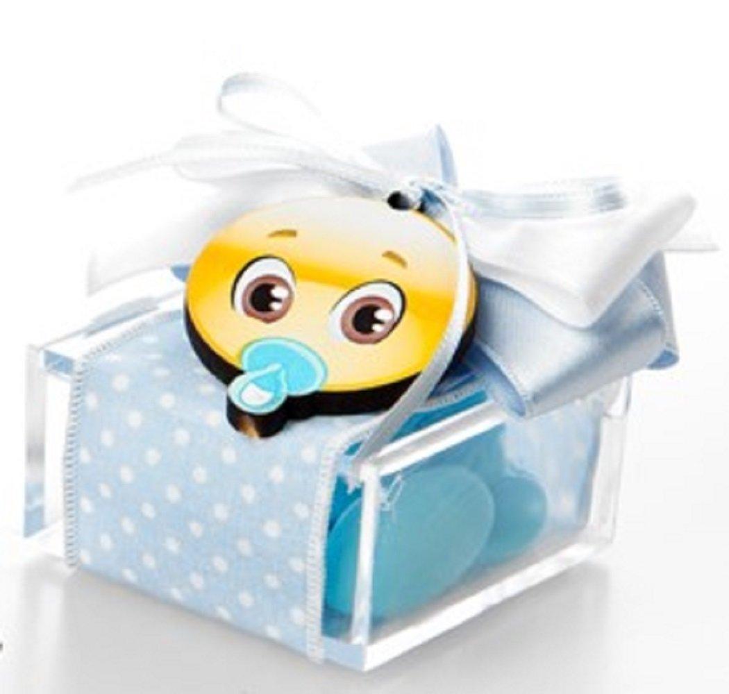 Bomboniera con confetti, con CALAMITA EMOTICONS CON CIUCCIO e FIOCCO AZUURRO Scatola Plexiglass con
