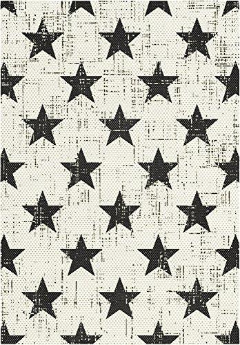 F & S STARS (Estrellas) 80 x 150 cm blanco negro alfombra moderna Flat Weave en aspecto de Sisal para sala de estar, dormitorio, pasillo, oficina, balcón y patio. Para uso INTERIOR y EXTERIOR. Fabricado en EUROPA OCCIDENTAL