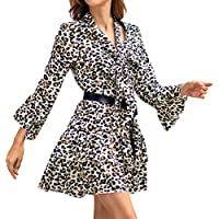 Beikoard_Vestido,2019 Primavera y Verano Vestido de Las señoras Vestido con Estampado de Leopardo con Cuello en V Falda de señora Ropa de Mujer Dia de San Valentin Regalo Navidad