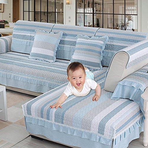 Divano scudo divano cotton slipcover mobili protector per 1,2,3 cuscino divano salotto lavabile in lavatrice-pezzo unico in vendita(blu grigio bianca)-pezzo unico in vendita-a 70x150cm(28x59inch)