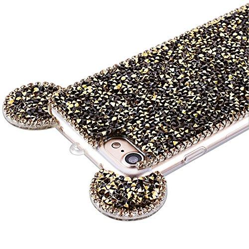 iPhone 7 Hülle, Yokata Weiche TPU Silikon Cover Diamant 3D Mouse Ear Design Bling Schutz Glitzer Case Cover Back Handytasche + Lanyard strap x 1 Gold