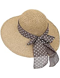 ililily Raffia Paper Big Brim Sun Hat Spot Ribbon Summer Cool Floppy Hat