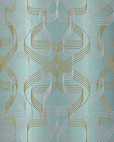 Grafik-Tapete EDEM 507-25 Designer Tapete strukturiert mit abstraktem Muster und metallischen Akzenten petrol perl-gold silber 5,33