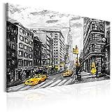 murando - Bilder New York 120x80 cm Vlies Leinwandbild 1 TLG Kunstdruck modern Wandbilder XXL Wanddekoration Design Wand Bild - Stad Manhattan Taxi schwarz weiß grau d-B-0173-b-a
