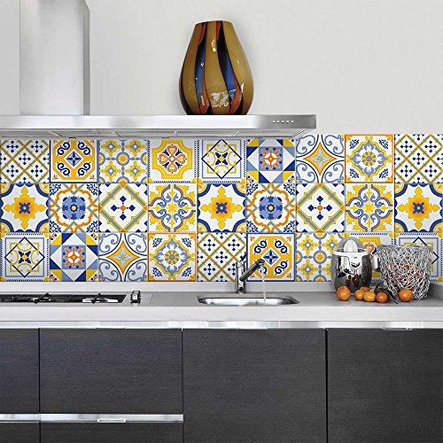81 Adhesivo para azulejos 10x10 cm - PS00110 - Bilbao - Adhesivo decorativo para azulejos para baño y cocina - Stickers azulejos - Collage de azulejos