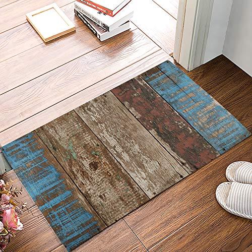 Family Decor Fußmatte für den Eingangsbereich, für drinnen und draußen, Eingangstür/Dusche, Badezimmer-Fußmatte, Rutschfest, Vintage-rustikales Holzbrett 20