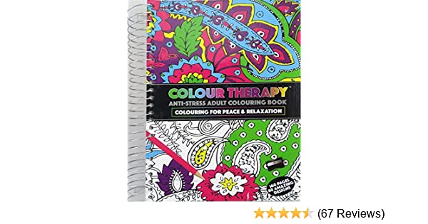 Adults A5 Colour Therapy Anti Stress Pattern Colouring Spiral Bound Book 384035 Amazoncouk Toys Games