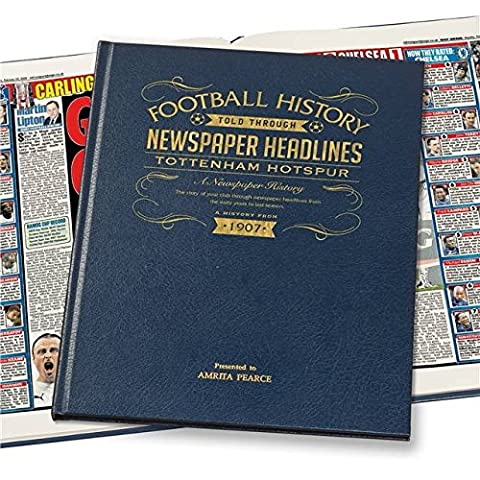 Personalised TOTTENHAM HOTSPUR/SPURS BLUE LEATHER A3 Colour Football Newspaper Book
