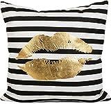 styleBREAKER eckiges Dekokissen mit goldenem Kussmund Print und Streifen, Kissen, Zierkissen, Sofakissen 07010004, Farbe:Schwarz-Weiß / Gold