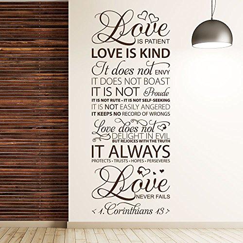 KLEBEHELD® Wandtattoo Love never fails   1 Corinthians 13   englischer Wandspruch   Größe 68x180cm, Farbe rot Korinther Wandtattoo