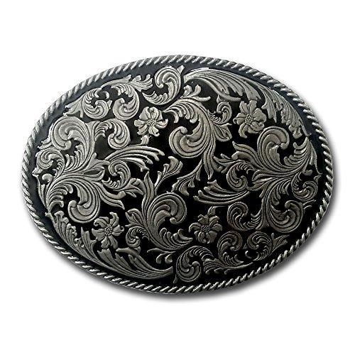 fibbia per cintura Western Flowers, ovale, colore: nero smaltato, stile indiano e Cowboy, confezione regalo
