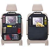 URAQT Autostoelbeschermer, 2 stuks achterbank-organizer voor kinderen, doorzichtige iPad tablethouder, autostoelbeschermer, w