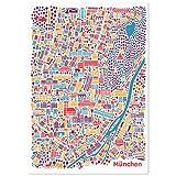 München Poster (70x100cm) - Stadtplan Plakat Kunstdruck bunt hochformat mit den Sehenswürdigkeiten Marienplatz, Frauenkirche, Englischer Garten, die Pinakotheken, Allianz-Arena, BMW Welt und den Viktualienmarkt