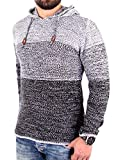 Reslad Strickpullover Herren Colorblock Kapuzen-Pullover Hoodie RS-3108 Schwarz L
