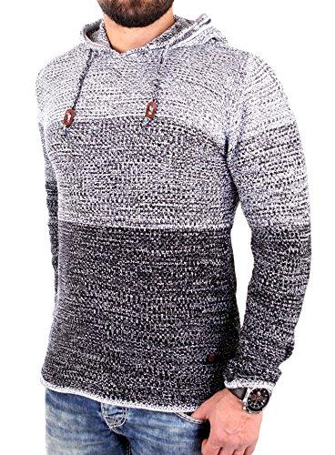 Reslad Strickpullover Herren Colorblock Kapuzen-Pullover Hoodie RS-3108 Schwarz XL (Pullover Colorblock Crewneck)