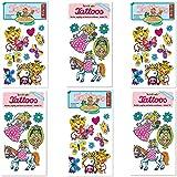 6-teiliges Tattoo-Set * Prinzessin * vom Mauder-Verlag | Kinder Kindertattoo Kindergeburtstag Geburtstag Mitgebsel Geschenk Miabella Krone Mädchen Rosa
