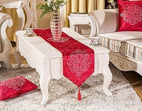 LD&P Europäischen Luxus klassischen Blumenbohrer Tisch Läufer Hotel Bett Fahne Hochzeit Partei Geschenk Mehrzweck (Schuhkarton-geschenke Für Weihnachten)