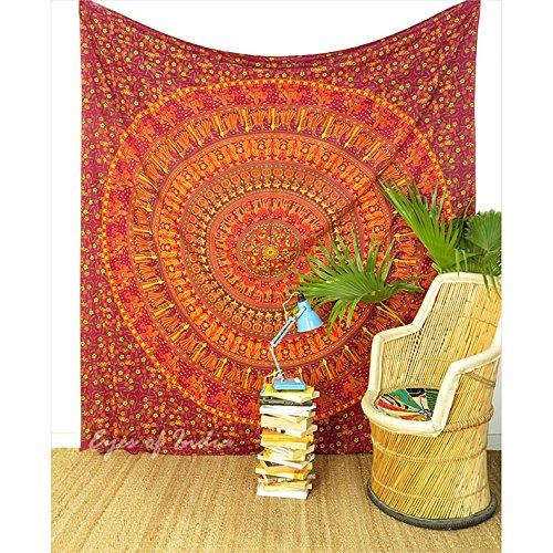 Eyes of India Doble Mandala de Elefantes Hippie Colcha Tapiz Colgante Manta...