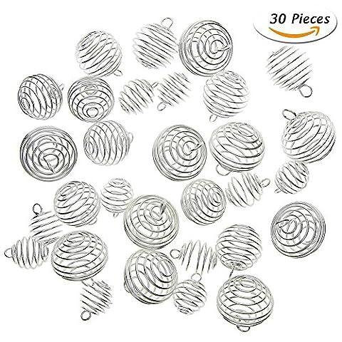 Juanya 30pièces Plaqué argent spirale cages à perle Pendentifs pour fabrication de bijoux, 3tailles