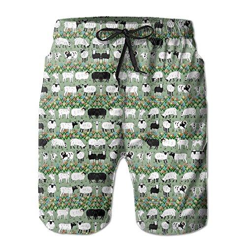 khgkhgfkgfk Sheep Flowers Plants Men's Summer Casual Swimming Shorts Beach Board Shorts X-Large