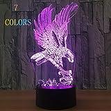 Veilleuses 3D Illusion Optique Night Light Lampe de Bureau LED USB/Batterie Touch Control (Eagle) 7 Couleurs Cadeaux D'anniversaire Pour Les Enfants