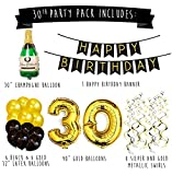 30th Birthday Party Pack – Black & Gold Happy Birthday Bunting, Poms, and Swirls Pack- Birthday Decorations – 30th Birthday Party Supplies